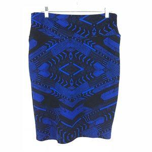 Lularoe Sz L Cassie Pencil Skirt Blue Black Geo